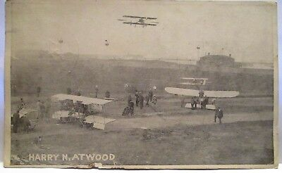 1918 Postcard Harry N Atwood, 3 Bi-Planes