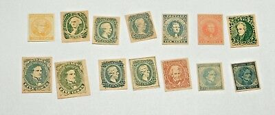Lot of 14 Confederate States Stamps  Facsimilies   (FORGERIES)