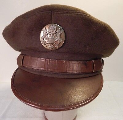 WWII / WW2 U.S. Army Enlisted Man's Olive Drab Wool Service Cap, Larger Size,