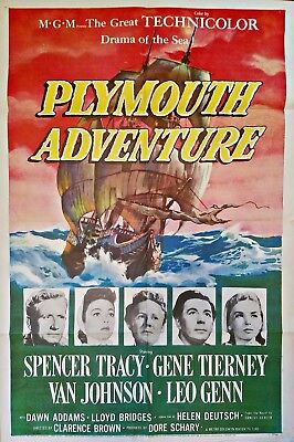 Plymouth Adventure (1952) Spencer Tracy * Gene Tierney Beautiful Orig 27X41 1Sht