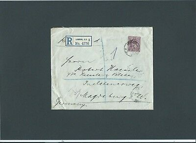 GB London 1913 KEVII 6d Registered Cover GRACECHURCH ST.B.O. E.C. s/c to Germany