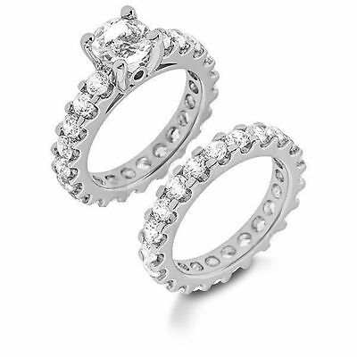7.22 ct total Engagement Round Diamond Eternity Ring & Band Bridal Set 14K Gold