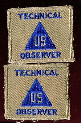 WWII WW2 US Patch Lot-US Civilian in Service TECHNICAL OBSERVER Lot of 2 Pieces