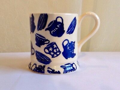 "Rare Emma Bridgewater 1998 1/2 pint mug. Hand sponged design, ""Pottery Blue""."