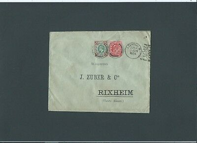 "GB 1904 KEVII 1d + 4d ""EST"" perfins Cover LONDON.W d/c's & m/c to Rixheim France"