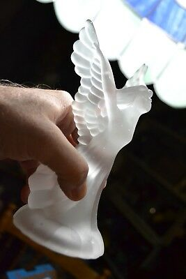 Single Heavy Frosted Ornate Glass Angel Tapered Candle Holder Corner Stand Valet