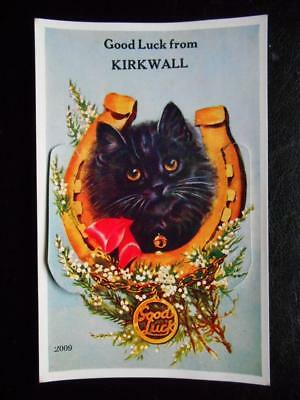 Good Luck KIRKWALL Orkney Islands -12 View Novelty Pull Out 1957 Lucky Black Cat