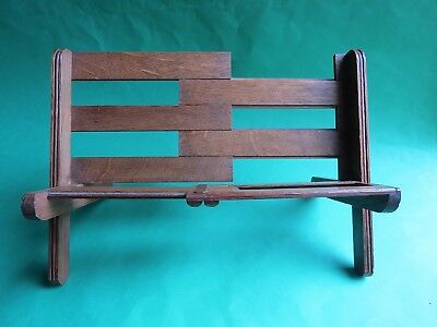 Edwardian Oak Folding Bookrack  Novelty Park Bench  Siegle Hill & Co