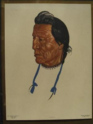 Native American Indian Art Print Great Northern Railway Chief Two Gun White Calf