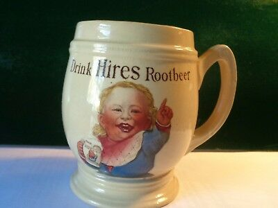 Early 1900's Pottery Hires Root Beer Mug With Child Old and Original Great color