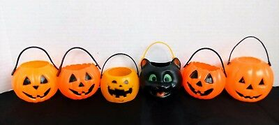 6 Vintage Small Pumpkin & Black Cat Blowmold Halloween Candy Treat Containers