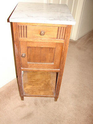 Antique Furniture: Victorian Era White-marble-topped Nightstand c. 1900