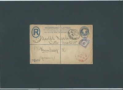 Stationery QV 2d Registered Envelope + KEVII 5d MANNVILLE BRADFORD YKS > Germany