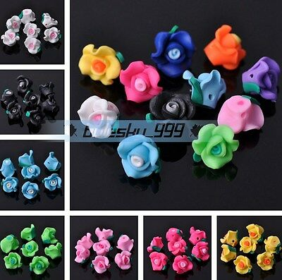 10pcs 12X9mm Flower Polymer Clay Loose Spacer Fimo Beads DIY Jewelry Findings