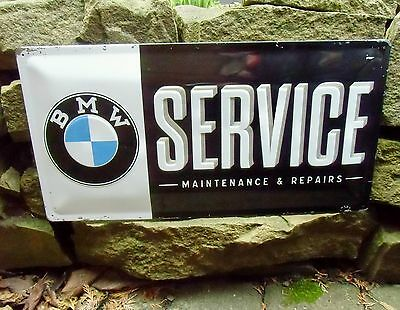 Official BMW SERVICE Embossed Metal WALL SIGN Motorcycles & Cars Made in Germany