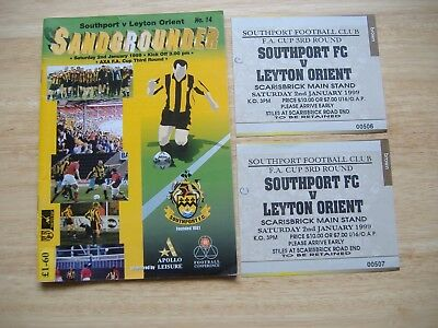 Southport v Leyton Orient,+Tickets, FA Cup Round 3, ( 2/1/1999)