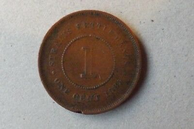 Straits Settlements British One Cent Coin 1885 Very Fine Grade Very Nice.