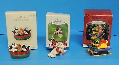 Hallmark Keepsake Ornaments Bright Sledding Colors Mischievous Kittens Raspberry