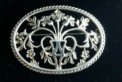 Ortak 925 silver Malcolm Gray floral brooch in original box - William Morris