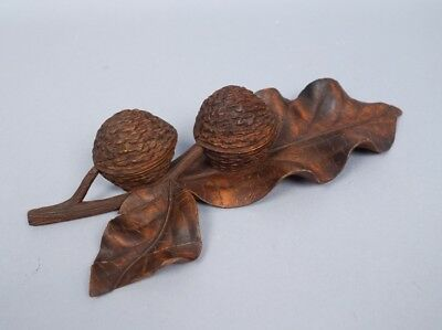 Antique 19c Carved German Black Forest Double Walnut Box Figural Leaf Ink Well