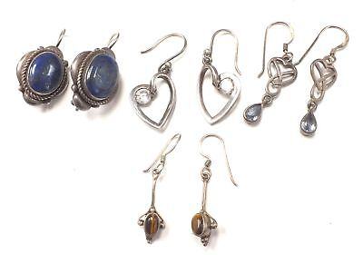 4 Pairs of 925 STERLING SILVER Earrings Including Lapis Lazuli - A15