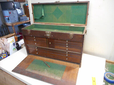 L2124- Antique H Gerstner & Sons 11 Drawer Vintage Machinist Wood Tool Box