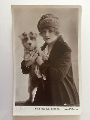 Vintage Real Photo Postcard - Gladys Cooper with Dog - Edwardian Stage Actress
