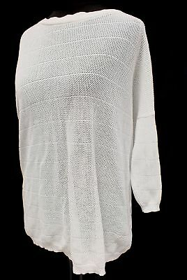 Ladies BOSS HUGO BOSS White Slouch Button Back Batwing Jumper 8 - 10 - S38