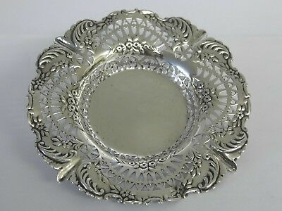 EXQUISITE ANTIQUE VICTORIAN SOLID STERLING SILVER PIERCED DECORATED DISH c1896