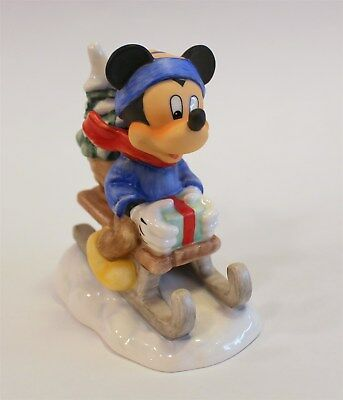 """Goebel Disney #17 369 11 """"Mickey Mouse Ride Into Christmas"""" 4.25"""" in Box"""
