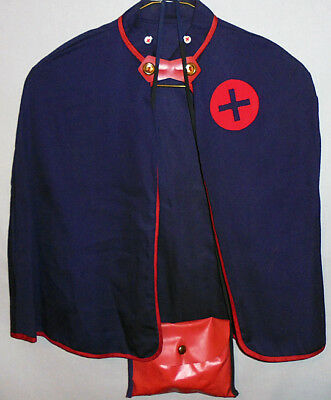 -Rare- 1950's -Nurse- Vintage Work Uniform Dress-Up Costume w/Cape/Medical Bag