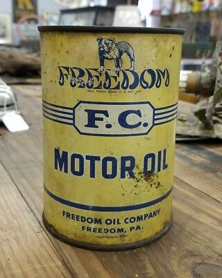 Vintage Freedom Motor Oil One Quart Can Freedom F.C. Freedom PA
