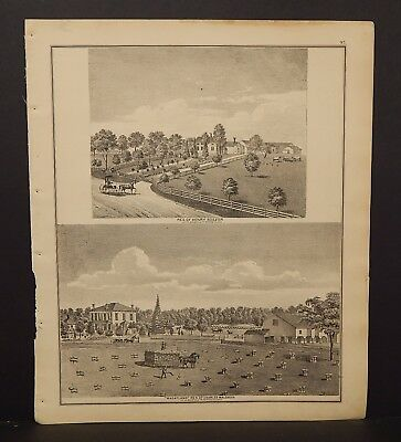 Ohio Portage County Map Engravings Double Sided 1874 J17#56