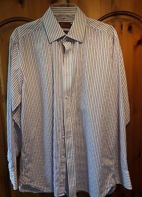 Marks & Spencer Collezione Superfine Cotton Purple & White Striped Shirt Size 16