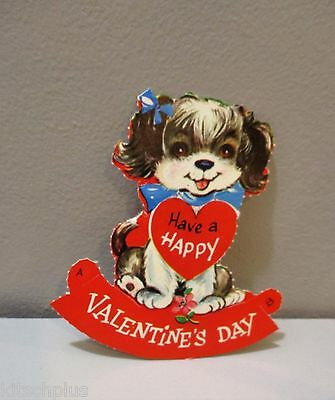 Vtg Valentine Card Cute Puppy Dog Have a Happy Valentine's Day Unused