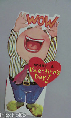 Vtg Big Mouth Man Fuzzy Slippers Necktie Wow Valentine Card UNUSED