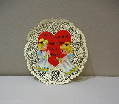 Vtg Valentine Card Pretty Angel Little Girl Special For Keeps Doily Unused 60's