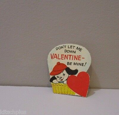 Vtg Valentine Card Puppy Dog in Hot Air Balloon Basket Don't Let Me Down Unused