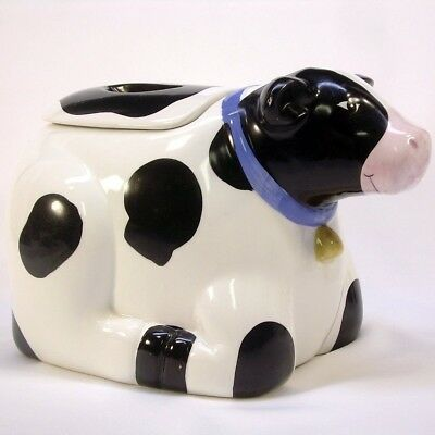 Cow Cookie Jar Black White Blue Ribbon Gold Bell Certified International Corp