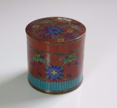 Antique c.1900 Japanese Cloisonne Round Covered Oxblood Box with Flowers