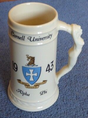Vintage Cornell University Alpha Phi Ceramic Beer Stein from 1943