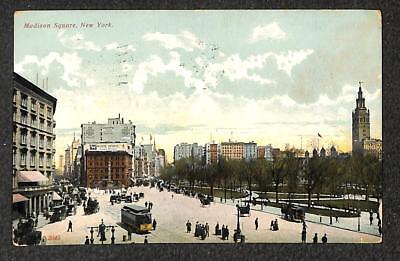Madison Square New York Trolley White Horse Whiskey Alcohol Ad Postcard 1908