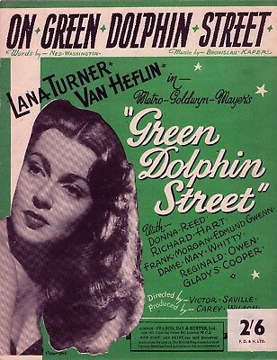 LANA TURNER sheet music ON GREEN DOLPHIN STREET (1947) London Issue