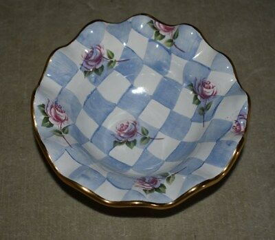 Mackenzie Childs Check Checkered & Floral Porcelain Serving Bowl - Morning Glory