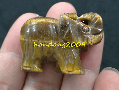 100% Natural TIGER EYE CRYSTAL Gemstone Hand Carved Elephant 1.5''