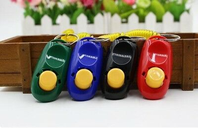 PET Dog Training Clicker Obedience Trainer Pet Click whistle Agility keyring PD