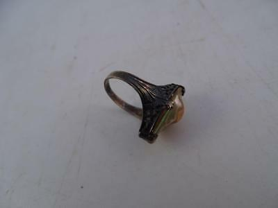 Antique Art Deco Sterling Silver Abalone Cocktail Ring 1920s Vintage Ladies Old