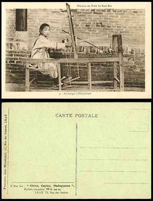 China Old Postcard Native Chinese Weaver Orphan Weaving Loom, Mission Tche Li SE