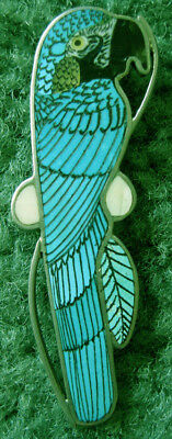Vintage ZUNI H M COONSIS Signed MACAW PARROT Inlay Turquoise Silver PIN/PENDANT