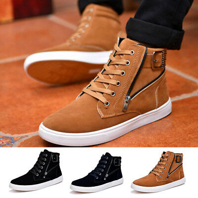 Fashion Mens High Top Trainers Boots Sport Sneakers Casual Running Shoes Flat